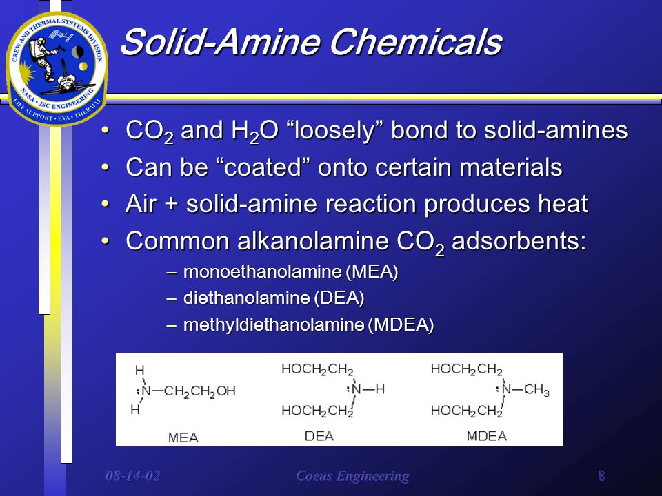 08-14-02Coeus Engineering8 Solid-Amine Chemicals CO 2 and H 2 O loosely bond to solid-aminesCO 2 and H 2 O loosely bond to solid-amines Can be coated onto certain materialsCan be coated onto certain materials Air + solid-amine reaction produces heatAir + solid-amine reaction produces heat Common alkanolamine CO 2 adsorbents:Common alkanolamine CO 2 adsorbents: –monoethanolamine (MEA) –diethanolamine (DEA) –methyldiethanolamine (MDEA)