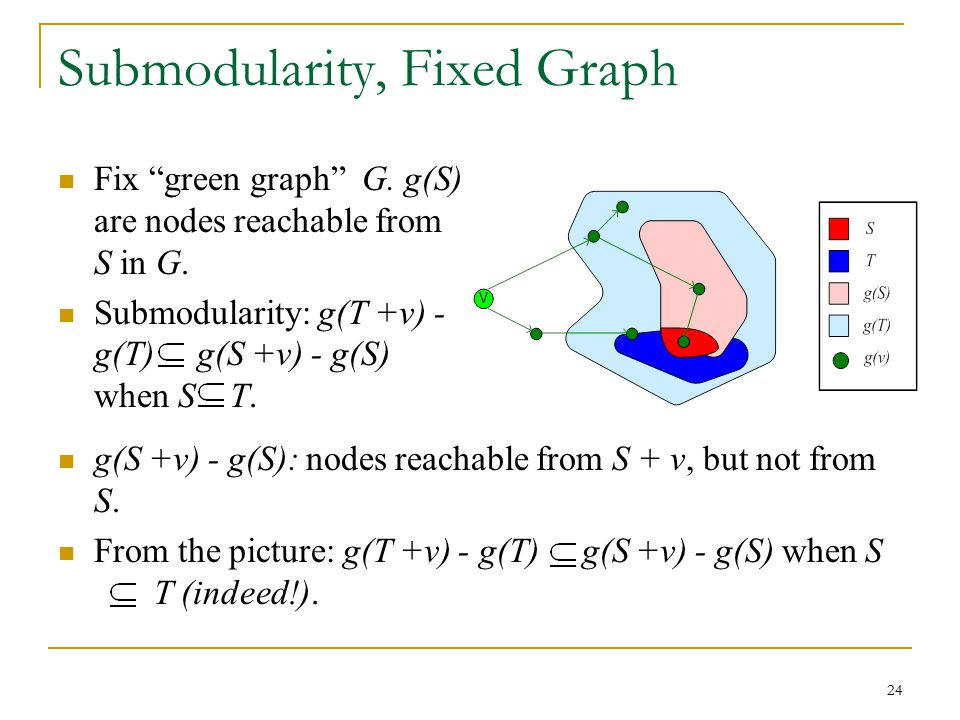"Submodularity, Fixed Graph Fix ""green graph"" G. g(S) are nodes reachable from S in G. Submodularity: g(T +v) - g(T) g(S +v) - g(S) when S T. g(S +v) -"