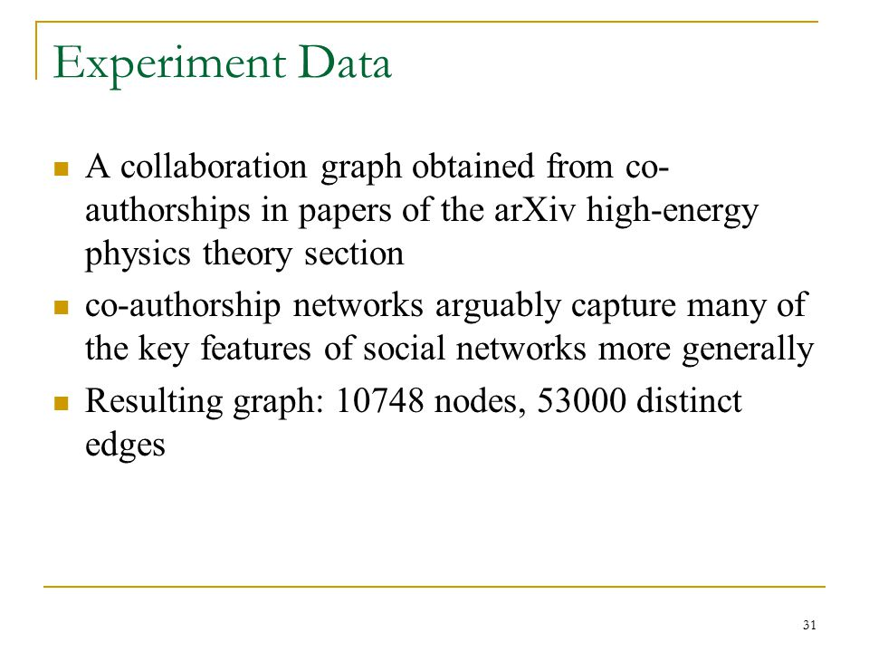 Experiment Data A collaboration graph obtained from co- authorships in papers of the arXiv high-energy physics theory section co-authorship networks a