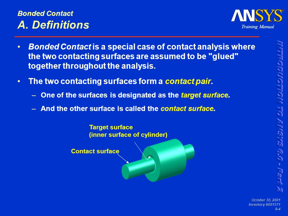 Training Manual October 30, 2001 Inventory #001571 9-4 Bonded Contact A. Definitions Bonded Contact is a special case of contact analysis where the tw