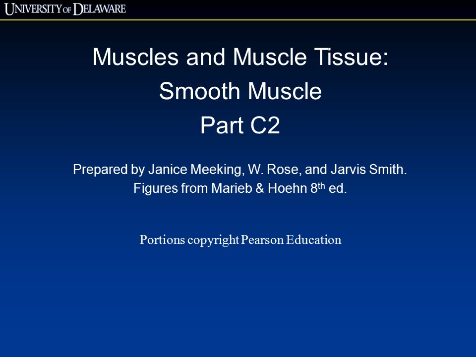Muscles and Muscle Tissue: Smooth Muscle Part C2 Prepared by Janice Meeking, W.