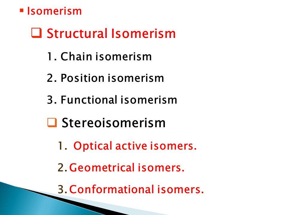 Isomerism  Structural Isomerism 1. Chain isomerism 2.
