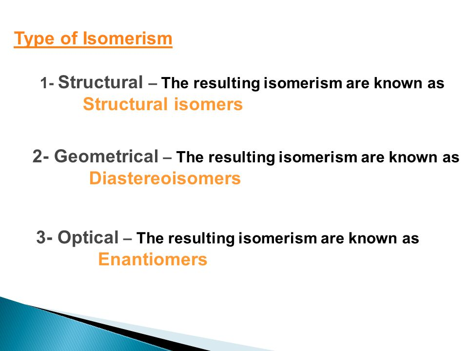 Type of Isomerism 1- Structural – The resulting isomerism are known as Structural isomers 2- Geometrical – The resulting isomerism are known as Diastereoisomers 3- Optical – The resulting isomerism are known as Enantiomers