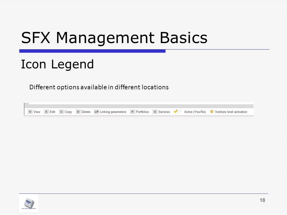 SFX Management Basics Icon Legend Different options available in different locations 18