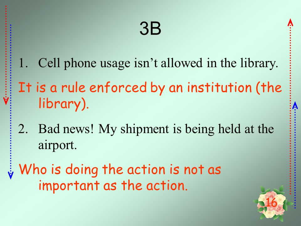 16 3B 1.Cell phone usage isn't allowed in the library.