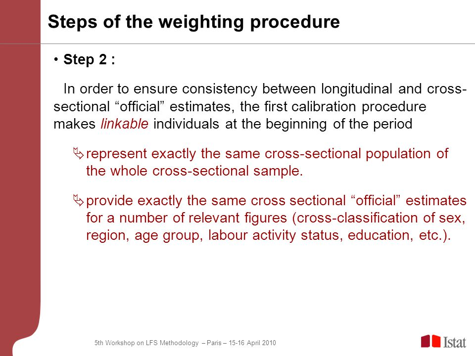 5th Workshop on LFS Methodology – Paris – 15-16 April 2010 Step 2 : In order to ensure consistency between longitudinal and cross- sectional official estimates, the first calibration procedure makes linkable individuals at the beginning of the period  represent exactly the same cross-sectional population of the whole cross-sectional sample.