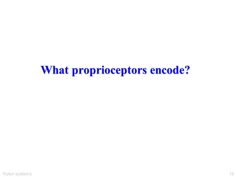 Motor systems19 What proprioceptors encode?