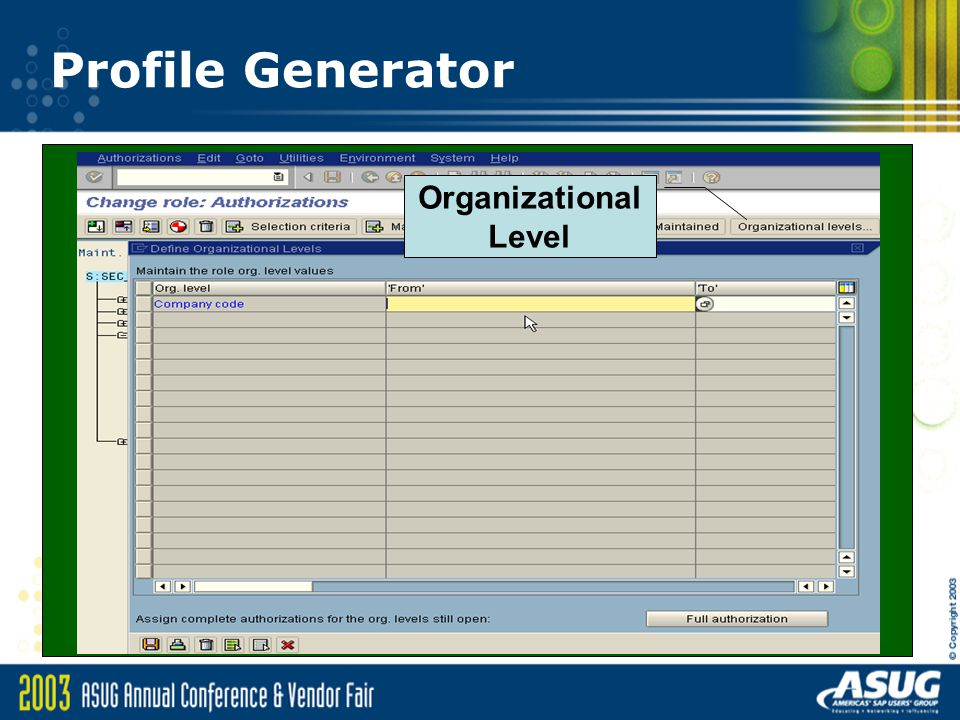 Profile Generator Organizational Level