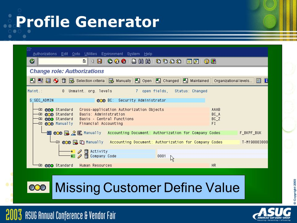 Profile Generator Missing Customer Define Value