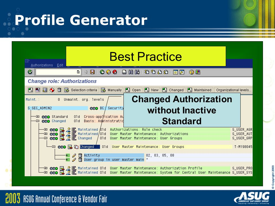 Profile Generator Best Practice Changed Authorization without Inactive Standard
