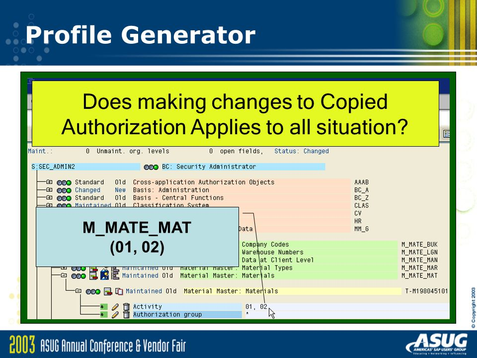 Profile Generator M_MATE_MAT (01, 02) Does making changes to Copied Authorization Applies to all situation?