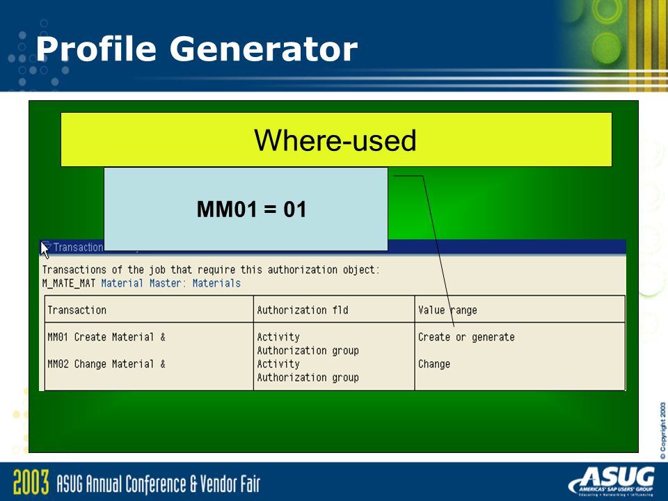 Profile Generator Where-used MM01 = 01