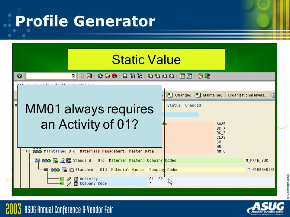 Profile Generator MM01 always requires an Activity of 01? Static Value