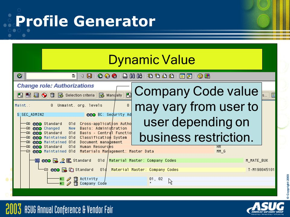 Profile Generator Company Code value may vary from user to user depending on business restriction.