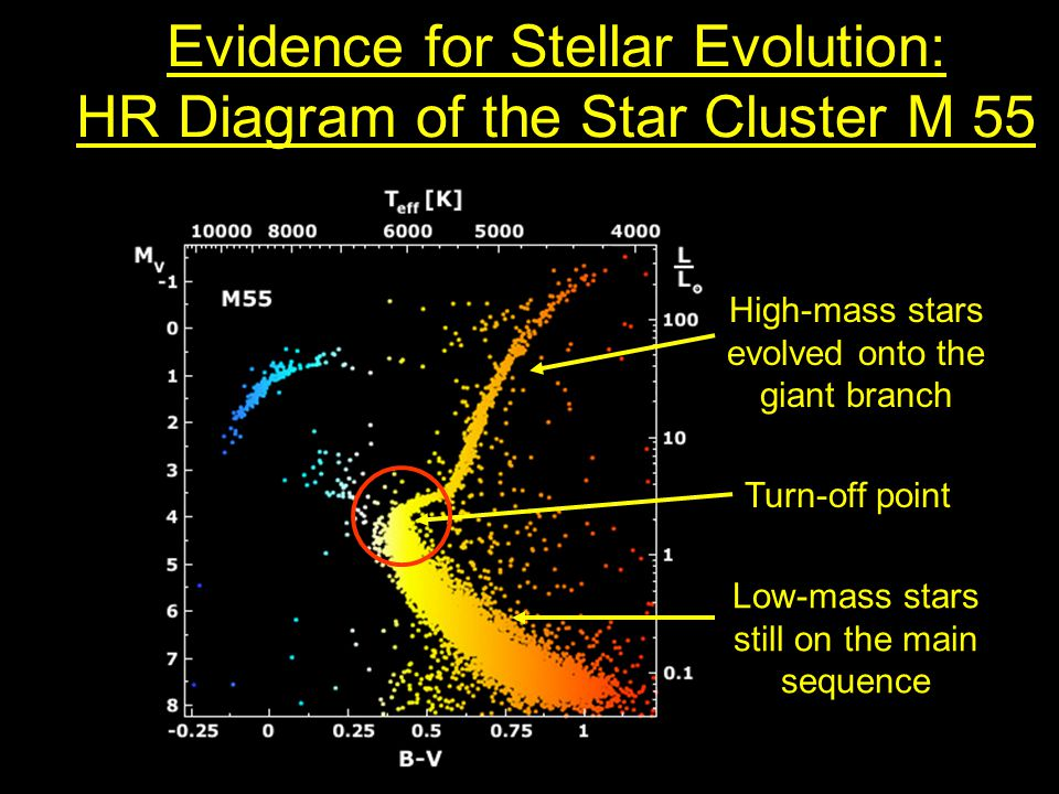 Evidence for Stellar Evolution: HR Diagram of the Star Cluster M 55 High-mass stars evolved onto the giant branch Low-mass stars still on the main sequence Turn-off point