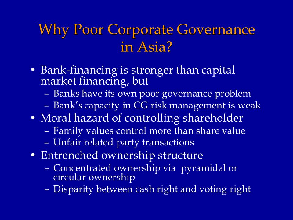 Why Poor Corporate Governance in Asia.