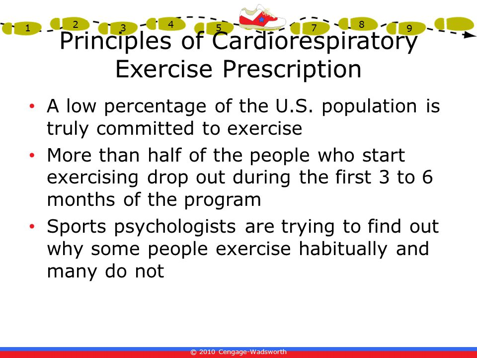 © 2010 Cengage-Wadsworth 1 2 3 4 5 6 7 8 9 Principles of Cardiorespiratory Exercise Prescription A low percentage of the U.S.