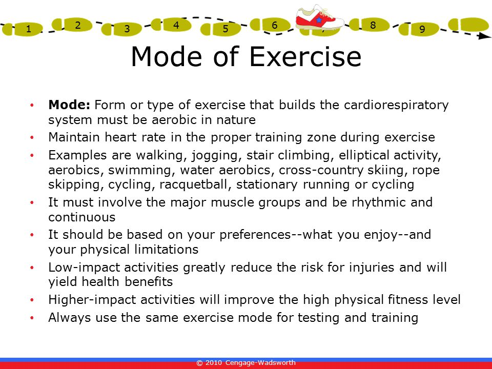 © 2010 Cengage-Wadsworth 1 2 3 4 5 6 7 8 9 Mode of Exercise Mode: Form or type of exercise that builds the cardiorespiratory system must be aerobic in nature Maintain heart rate in the proper training zone during exercise Examples are walking, jogging, stair climbing, elliptical activity, aerobics, swimming, water aerobics, cross-country skiing, rope skipping, cycling, racquetball, stationary running or cycling It must involve the major muscle groups and be rhythmic and continuous It should be based on your preferences--what you enjoy--and your physical limitations Low-impact activities greatly reduce the risk for injuries and will yield health benefits Higher-impact activities will improve the high physical fitness level Always use the same exercise mode for testing and training