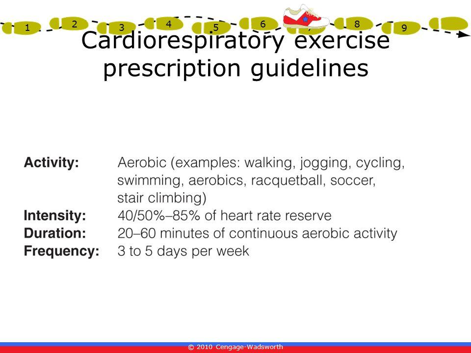 © 2010 Cengage-Wadsworth 1 2 3 4 5 6 7 8 9 Cardiorespiratory exercise prescription guidelines