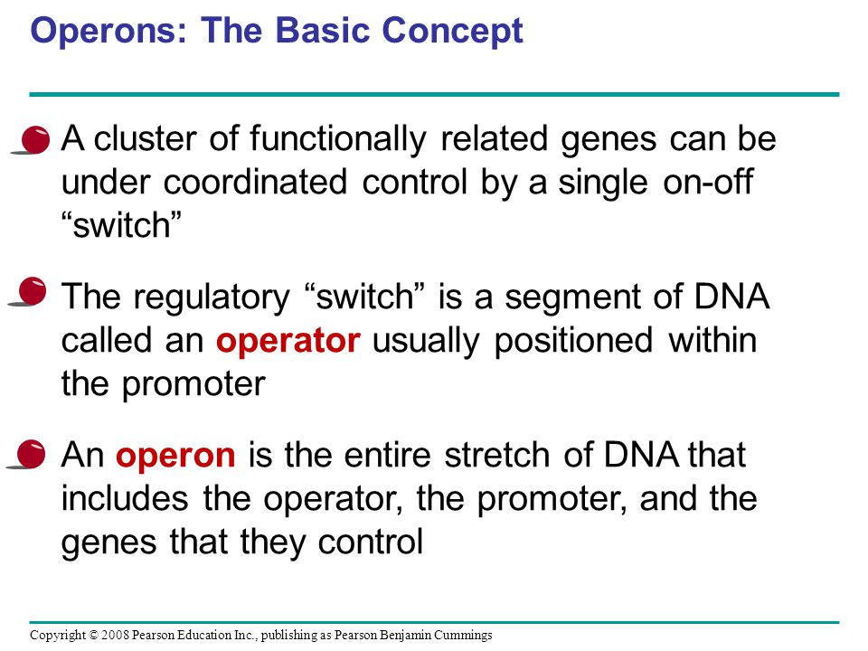 Copyright © 2008 Pearson Education Inc., publishing as Pearson Benjamin Cummings 4.Explain how DNA methylation and histone acetylation affect chromatin structure and the regulation of transcription 5.Define control elements and explain how they influence transcription 6.Explain the role of promoters, enhancers, activators, and repressors in transcription control