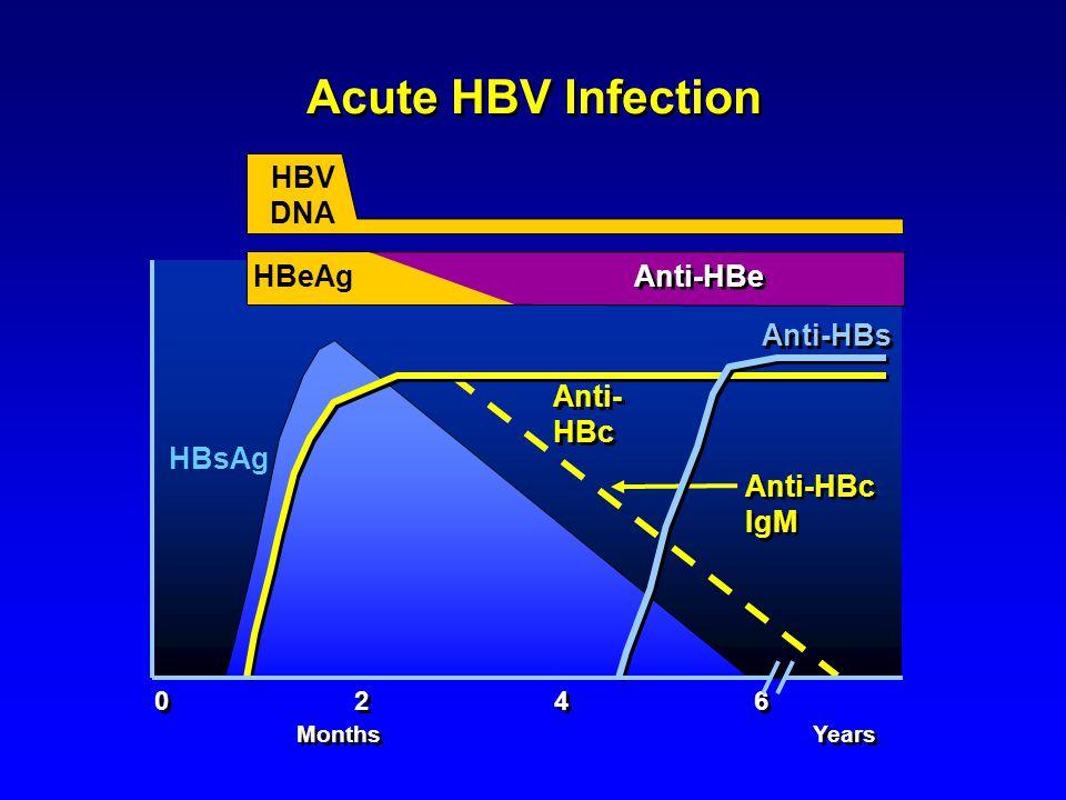 Acute HBV Infection 0 2 4 6 HBsAg Anti-HBs Anti- HBc Anti-HBc IgM Months Years HBeAg Anti-HBe HBV DNA Anti-HBe