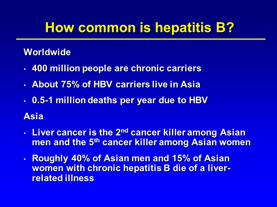  Hepatitis B immune globulin and HB vaccine to infants of HBsAg+ mothers  All infants  All children and adolescents who were not vaccinated at birth  Vaccination of adults at risk of infection  Occupational  Sexual / household contacts  Injection drug users  Long-term residence in high prevalence areas Indications for HBV Vaccines