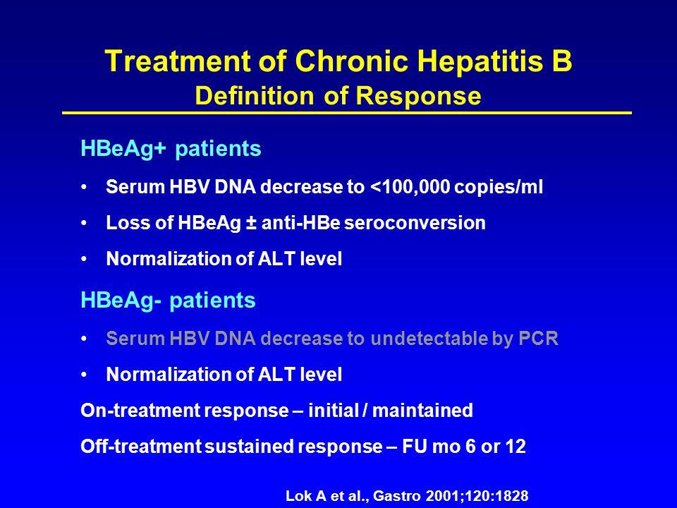 Treatment of Chronic Hepatitis B Definition of Response HBeAg+ patients Serum HBV DNA decrease to <100,000 copies/ml Loss of HBeAg ± anti-HBe seroconv
