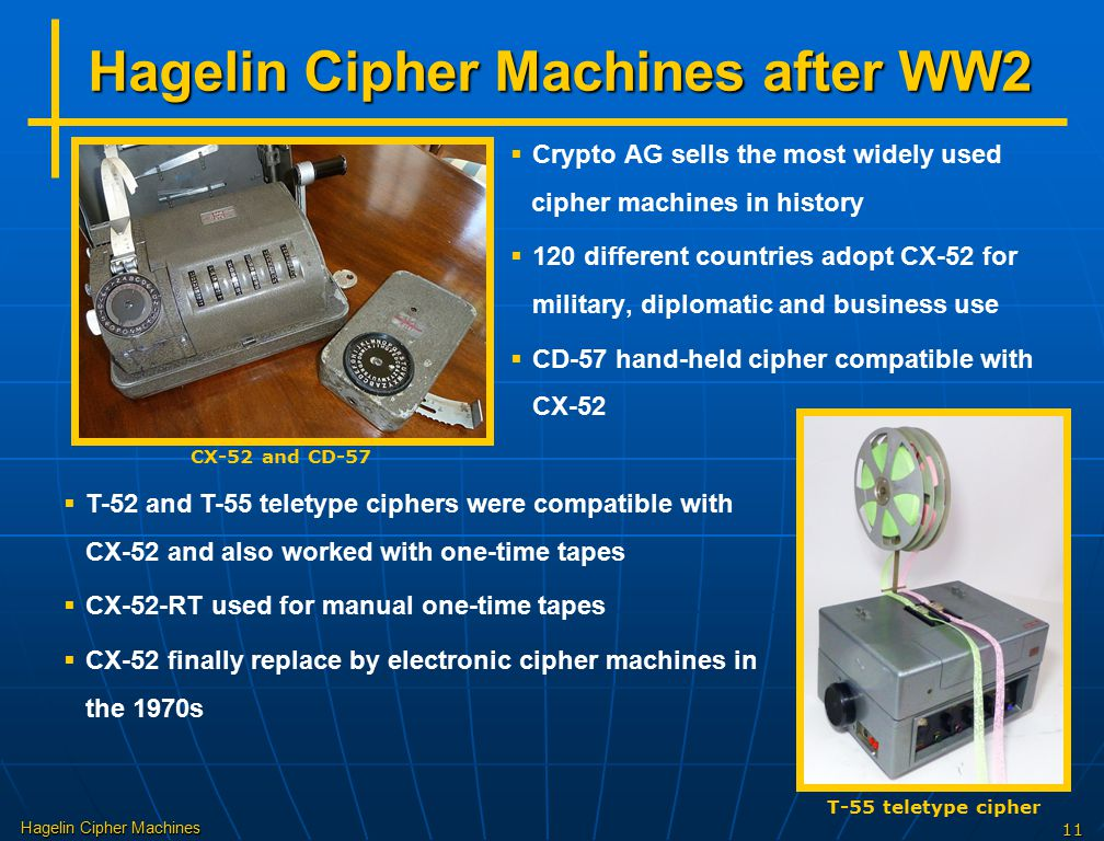 Hagelin Cipher Machines 11 Hagelin Cipher Machines after WW2   Crypto AG sells the most widely used cipher machines in history   120 different cou