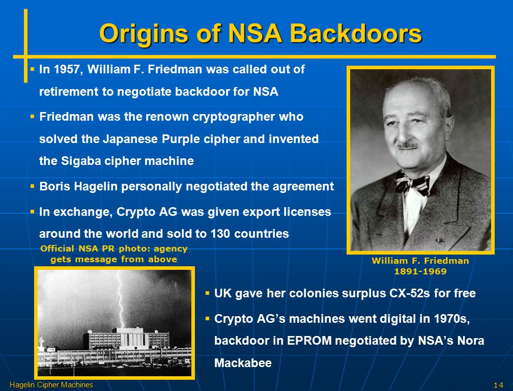 Hagelin Cipher Machines14 Origins of NSA Backdoors William F. Friedman 1891-1969   In 1957, William F. Friedman was called out of retirement to nego