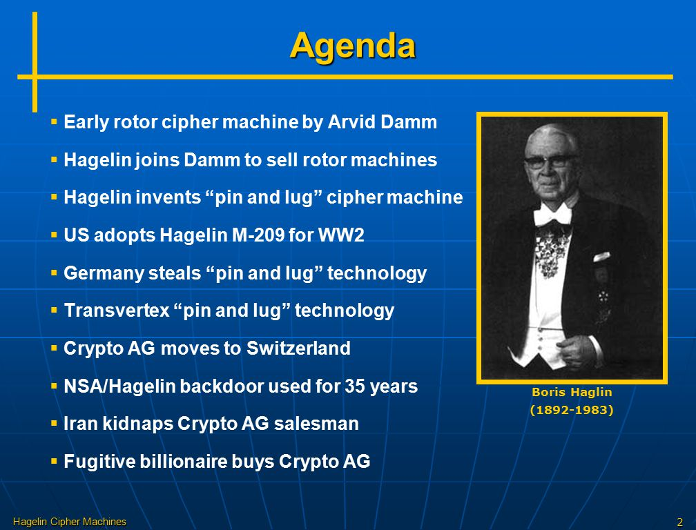 "Hagelin Cipher Machines2   Early rotor cipher machine by Arvid Damm   Hagelin joins Damm to sell rotor machines   Hagelin invents ""pin and lug"""