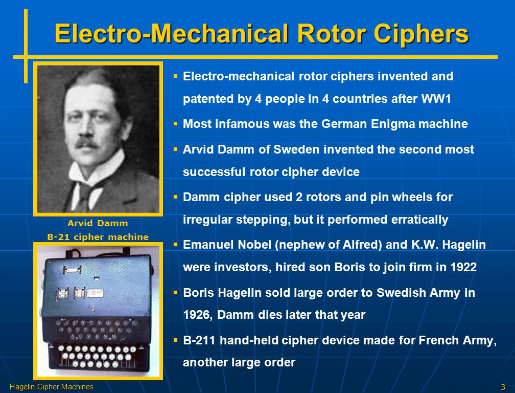 Hagelin Cipher Machines3 Electro-Mechanical Rotor Ciphers   Electro-mechanical rotor ciphers invented and patented by 4 people in 4 countries after