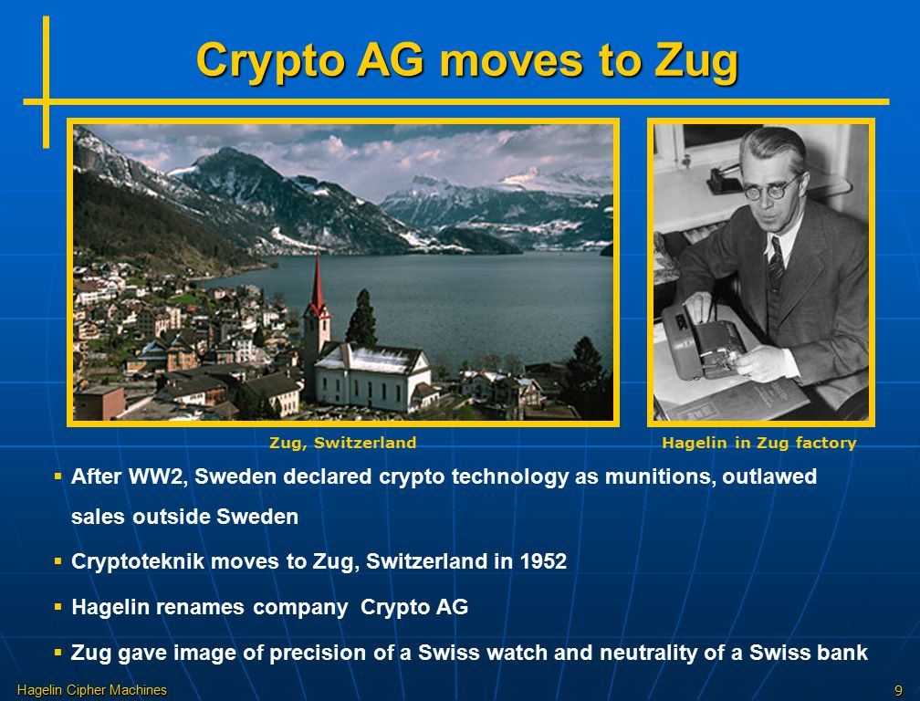 Hagelin Cipher Machines9 Crypto AG moves to Zug Zug, Switzerland  After WW2, Sweden declared crypto technology as munitions, outlawed sales outside S