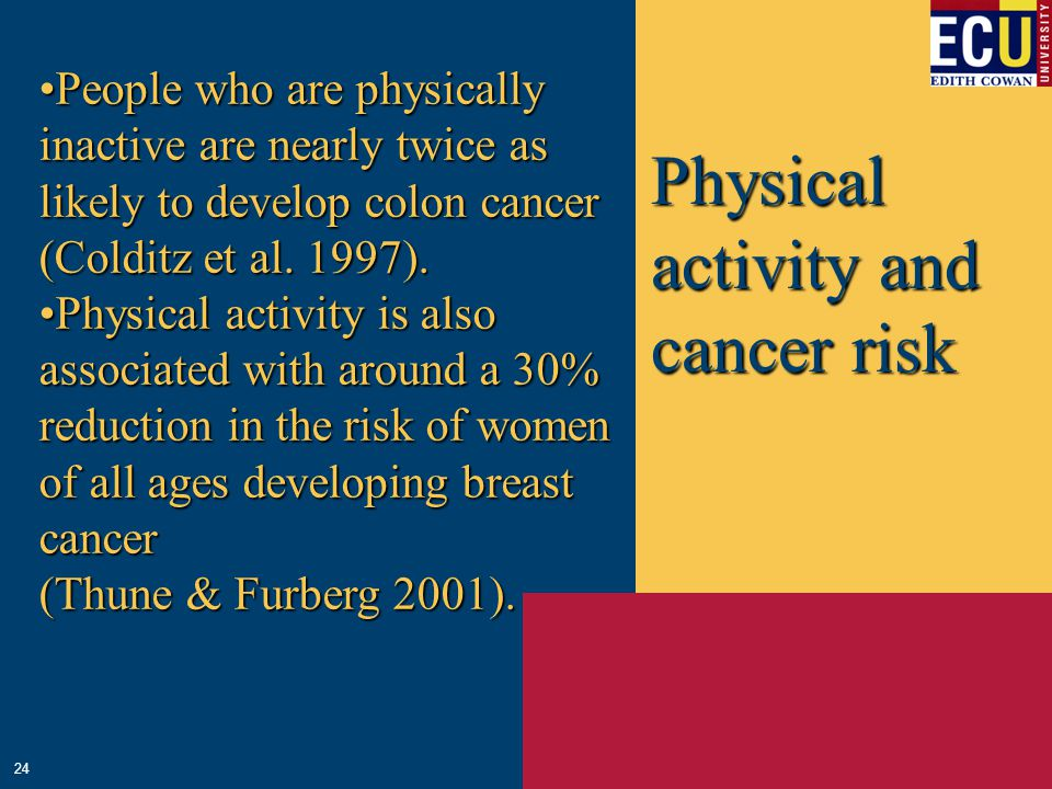 Physical activity and cancer risk People who are physically inactive are nearly twice as likely to develop colon cancerPeople who are physically inact