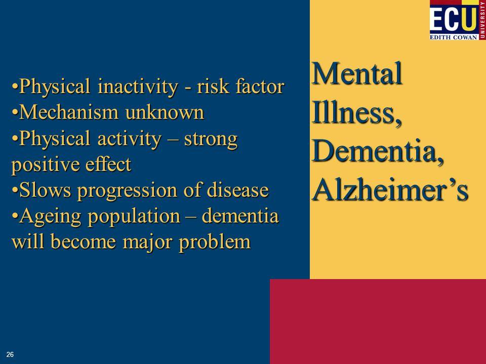 Mental Illness, Dementia, Alzheimer's Physical inactivity - risk factorPhysical inactivity - risk factor Mechanism unknownMechanism unknown Physical a