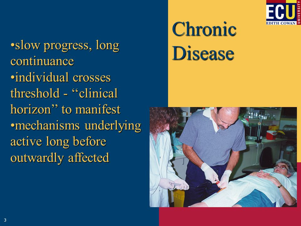 Chronic Disease slow progress, long continuanceslow progress, long continuance individual crosses threshold - ''clinical horizon'' to manifestindividual crosses threshold - ''clinical horizon'' to manifest mechanisms underlying active long before outwardly affectedmechanisms underlying active long before outwardly affected 3