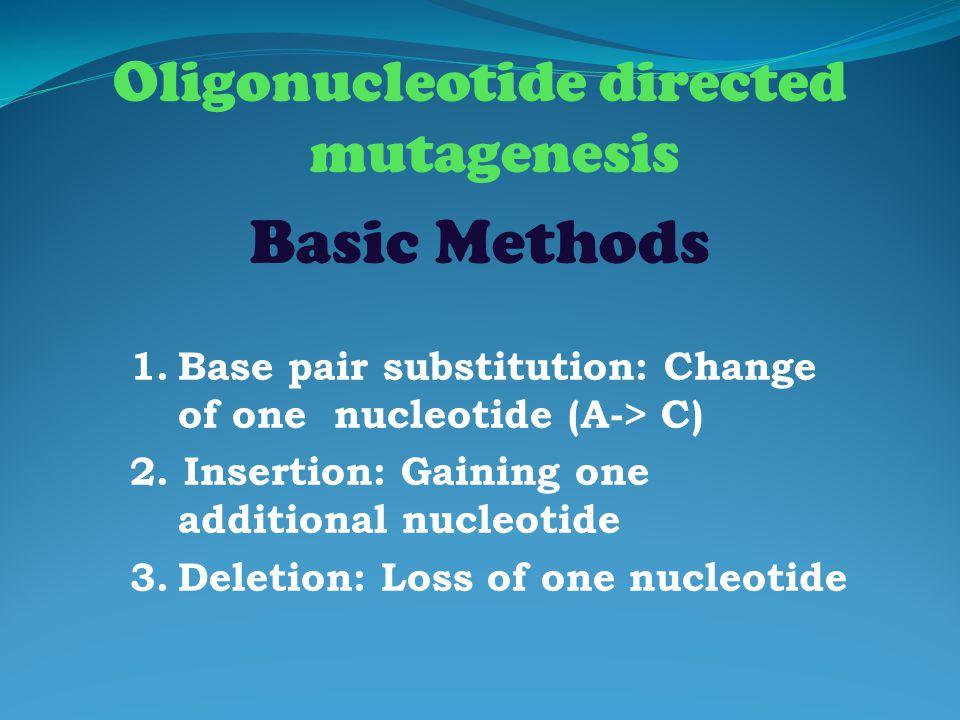 Oligonucleotide directed mutagenesis Basic Methods 1.Base pair substitution: Change of one nucleotide (A-> C) 2. Insertion: Gaining one additional nuc