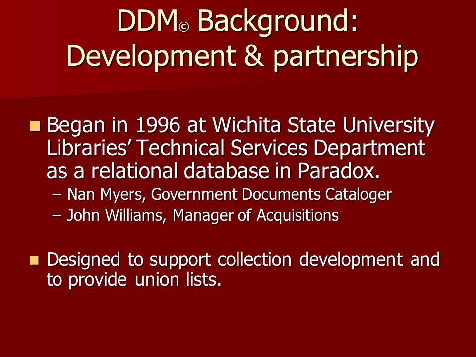 Development & partnership, continued Moved to Internet in 1997 Moved to Internet in 1997 –Partnered with NIAR at WSU –John Ellis, Sr.