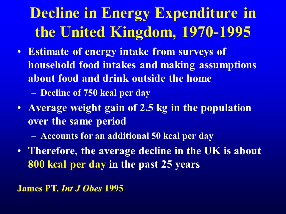 Decline in Energy Expenditure in the United Kingdom, 1970-1995 Estimate of energy intake from surveys of household food intakes and making assumptions about food and drink outside the home –Decline of 750 kcal per day Average weight gain of 2.5 kg in the population over the same period –Accounts for an additional 50 kcal per day Therefore, the average decline in the UK is about 800 kcal per day in the past 25 years James PT.
