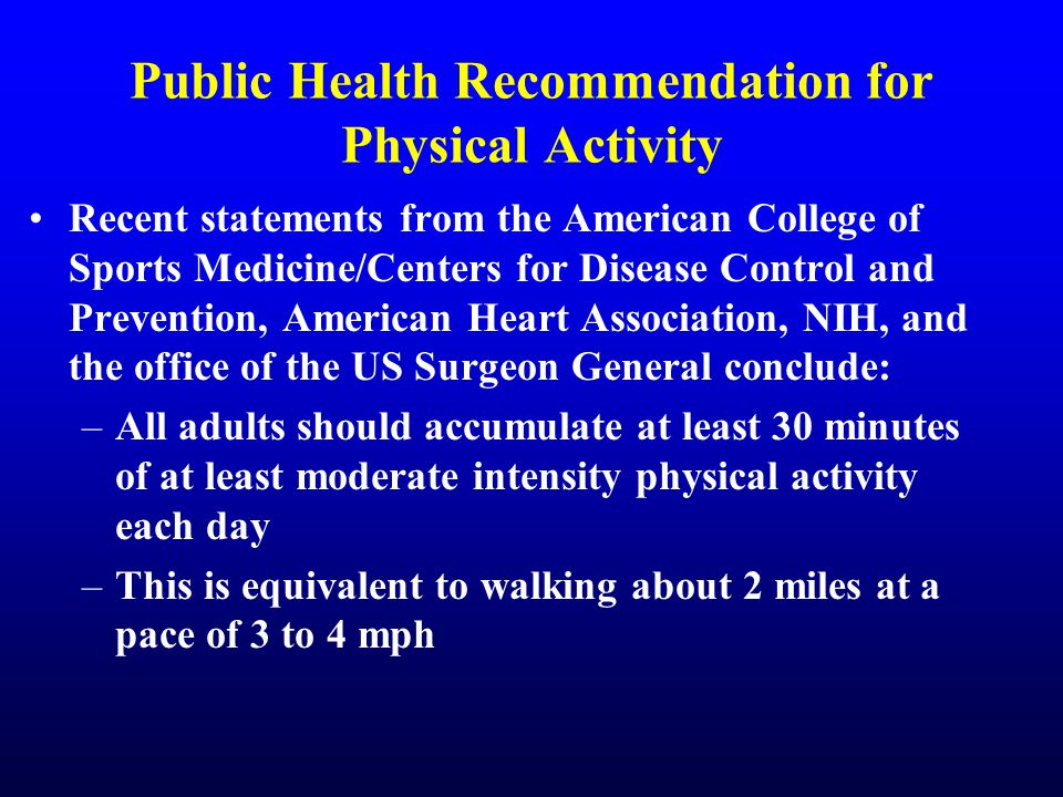 Public Health Recommendation for Physical Activity Recent statements from the American College of Sports Medicine/Centers for Disease Control and Prevention, American Heart Association, NIH, and the office of the US Surgeon General conclude: –All adults should accumulate at least 30 minutes of at least moderate intensity physical activity each day –This is equivalent to walking about 2 miles at a pace of 3 to 4 mph