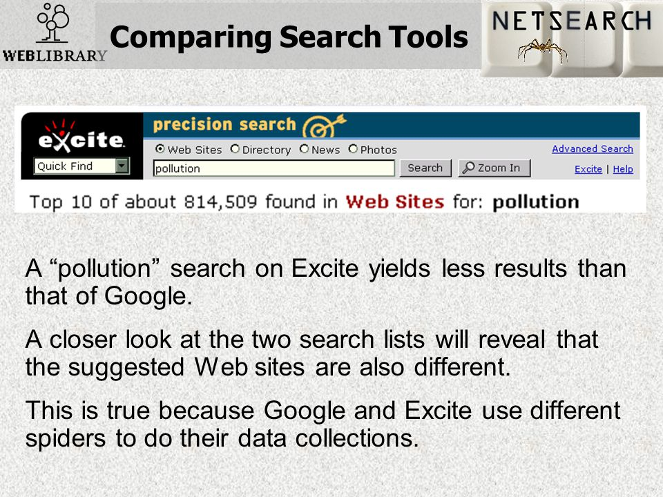 Comparing Search Tools A pollution search on Excite yields less results than that of Google.