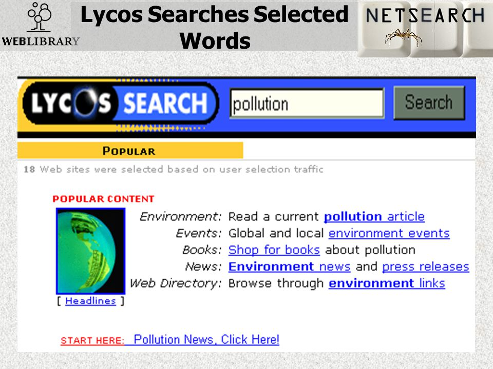 Lycos Searches Selected Words