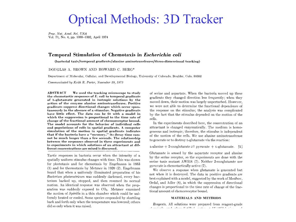 Optical Methods: 3D Tracker