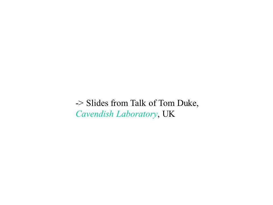 -> Slides from Talk of Tom Duke, Cavendish Laboratory, UK