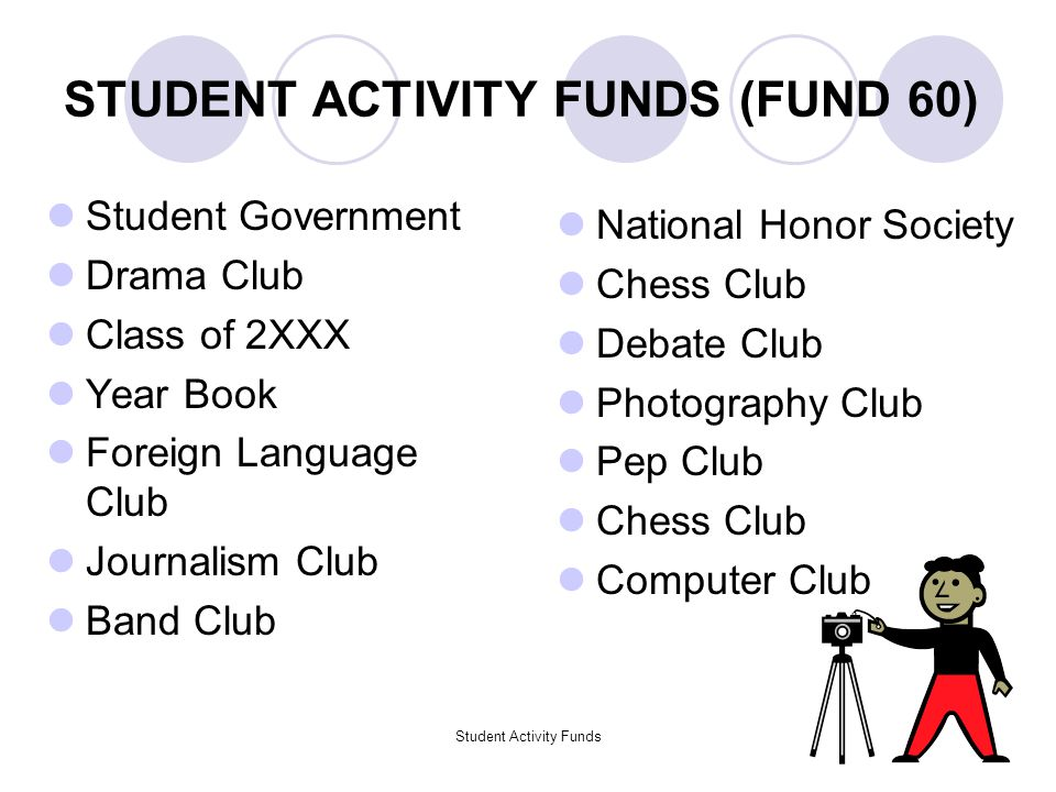 Student Activity Funds3 STUDENT ACTIVITY FUNDS (FUND 60) Student Government Drama Club Class of 2XXX Year Book Foreign Language Club Journalism Club Band Club National Honor Society Chess Club Debate Club Photography Club Pep Club Chess Club Computer Club