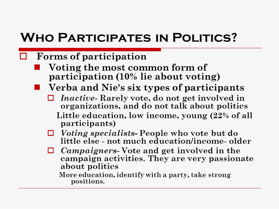 Who Participates in Politics.