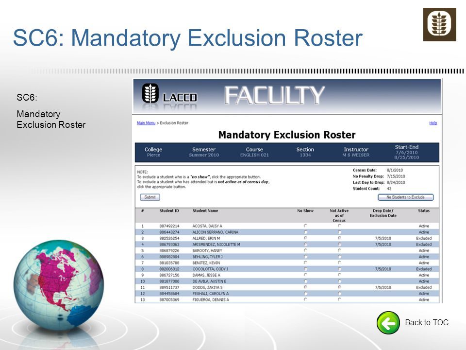 SC6: Mandatory Exclusion Roster Back to TOC SC6: Mandatory Exclusion Roster