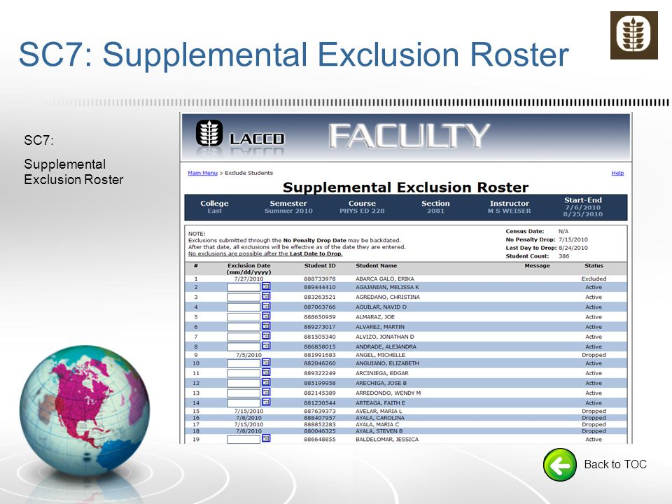 SC7: Supplemental Exclusion Roster Back to TOC SC7: Supplemental Exclusion Roster