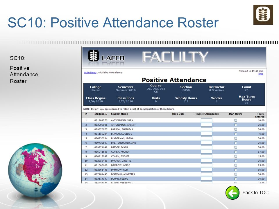 SC10: Positive Attendance Roster Back to TOC SC10: Positive Attendance Roster