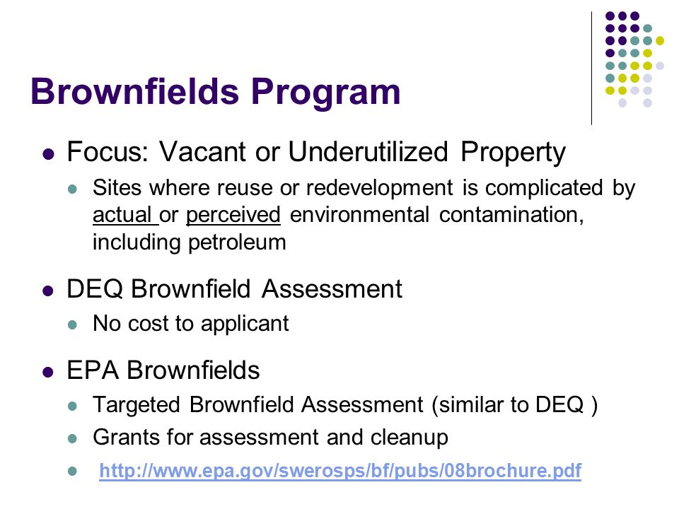 Brownfields Program Former City and/or County Dumps and Landfill Properties DEQ conduct site assessments Must have a redevelopment plan Cleanup of Brownfields properties Reuse Idaho Brownfields Coalition (Brownfields Revolving Loan Fund) Low interest loan Community Reinvestment Pilot Initiative Rebate of 70% of cleanup costs up to a maximum of $150,000 per site All Pilot slots currently filled