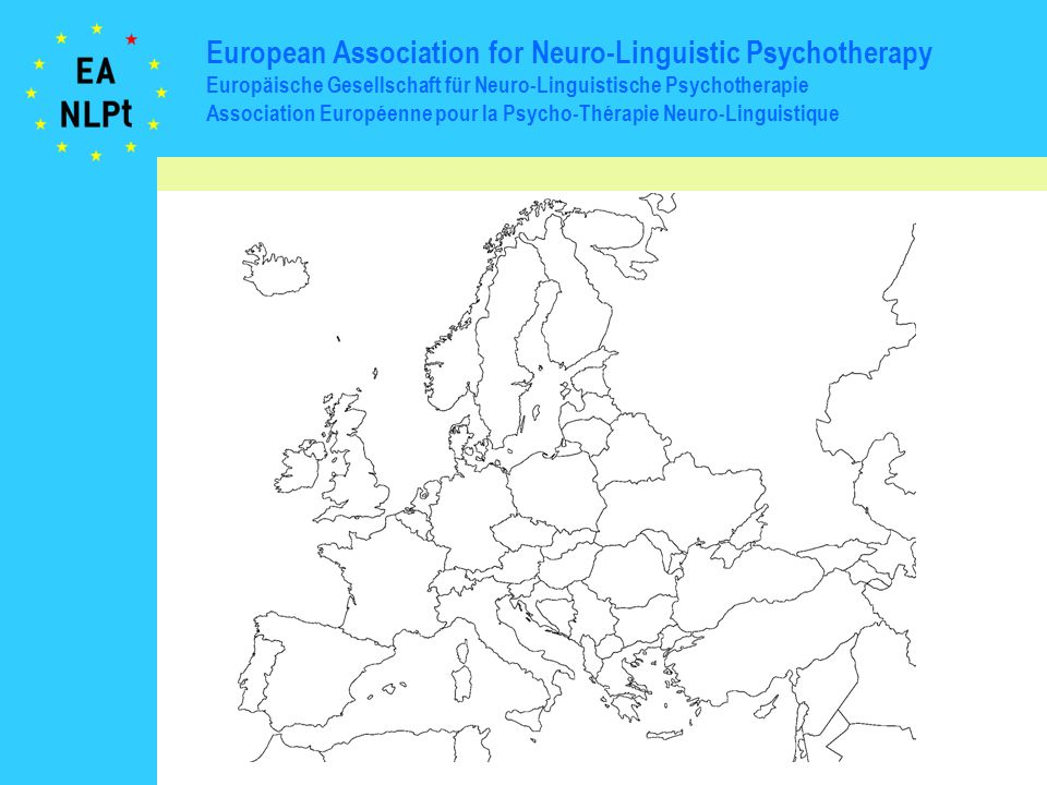 European Association for Neuro-Linguistic Psychotherapy Europäische Gesellschaft für Neuro-Linguistische Psychotherapie Association Européenne pour la Psycho-Thérapie Neuro-Linguistique full interested inactive full partly accredited applied held planned Membership Status EANLPt accr.